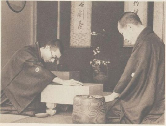 A young Go Seigen (left) playing his teacher Segoe Kensaku